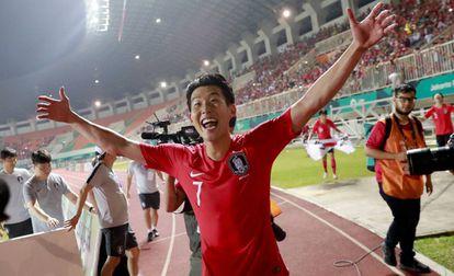 Heung-Min Son celebra la victoria de Corea del Sur ante Japón este sábado.