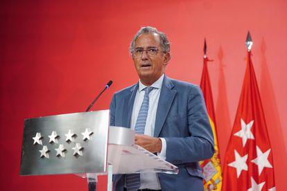 El portavoz del Gobierno y consejero de Educación, Universidades, Ciencia, Enrique Ossorio, el 8 de septiembre.