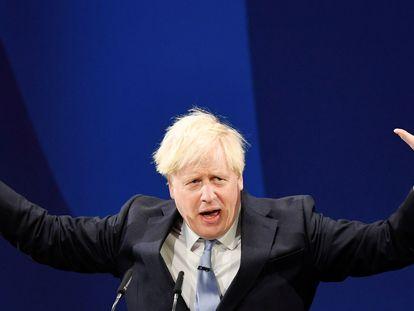 El primer ministro británico, Boris Johnson, el 6 de octubre durante un acto de su partido en Manchester.