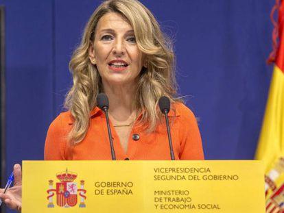 La vicepresidenta segunda del Gobierno y ministra de Trabajo y Economía Social, Yolanda Díaz, este martes.