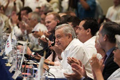 El presidente de México, Andrés Manuel López Obrador, durante su participación en la Cumbre de Alcaldes de América del Norte en Baja California Sur (México).