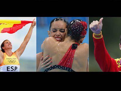 Alabau; Ona Carbonell y Andrea Fuentes; y Noya celebran sus medallas.