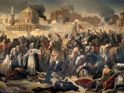 Obra del pintor francés Emile Signol que refleja la conquista de Jerusalén por los cruzados en 1099. LEEMAGE / CORBIS / GETTY