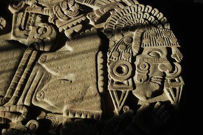 Detalle del monolito de la diosa Coyolxauhqui.