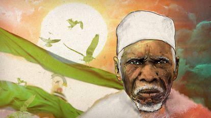 Ilustración de un hombre subsahariano frente a la bandera de Andalucía.