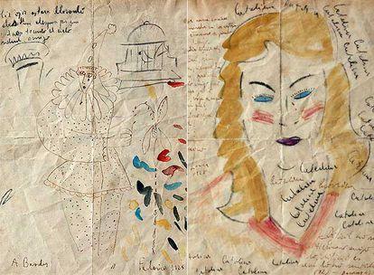 A la izquierda, dibujo de Lorca con unos versos de Barradas. A la derecha, el dibujo de Barradas completado por Lorca y acompañado de un poema de éste.