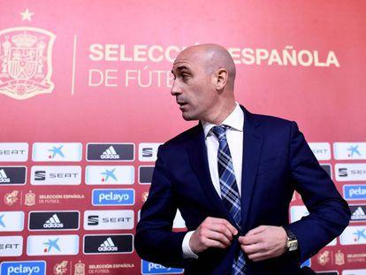 Luis Rubiales, tras una rueda de prensa.