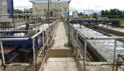 Una planta de tratamiento de aguas residuales en Colombia.