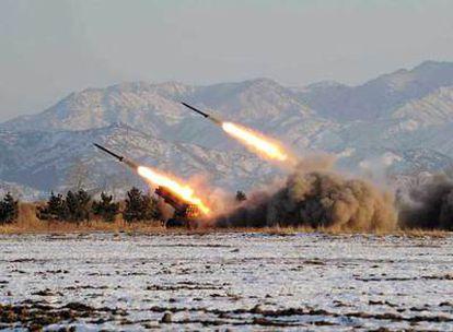 Prueba de misiles en Corea del Norte, en una imagen distribuida por Pyongyang el pasado enero.