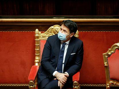 El primer ministro, Giuseppe Conte, durante su comparecencia en el Senado la semana pasada, en Roma.