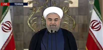 El presidente iraní, Hassan Rohaní, durante su discurso televisado.