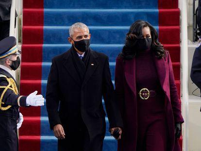 El ex presidente de Estados Unidos, Barack Obama, y la ex primera dama de Estados Unidos, Michelle Obama, llegan para la toma de posesión de Joe Biden como presidente de Estados Unidos el pasado 20 de enero.