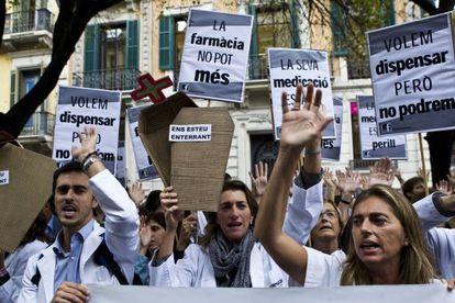 Protesta de farmacéuticos en Barcelona.