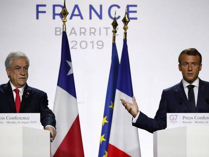 Emmanuel Macron y Sebastián Piñera, durante la rueda de prensa donde se ha anunciado en el envío de ayuda a la Amazonia.