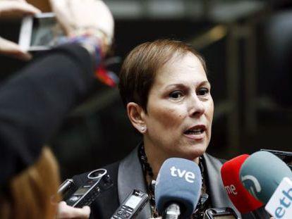 La presidenta de Navarra, Uxue Barkos, este jueves.