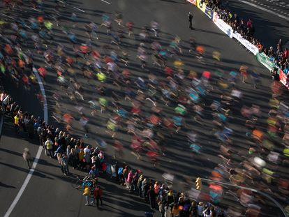 10/03/19 Vista alzada de la salida de la competicion en plaza espana.41 edicion de la Maraton de Barcelona (Zurich Marato Barcelona). Barcelona, 10 de marzo de 2019 [ALBERT GARCIA]
