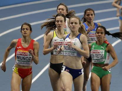 Britain's Katie Snowden leads a group of athletes during their heat of the women's 1500 meters event at the Poland European Indoor Athletics Championships in Torun, Poland, Friday, March 5, 2021. (AP Photo/Czarek Sokolowski)