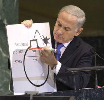 Netanyahu, con el dibujo de una bomba con el que acudió a la Asamblea General de la ONU.