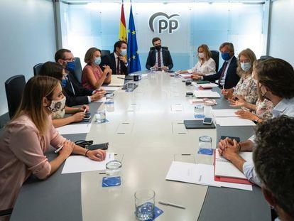 El líder del PP, Pablo Casado, preside la reunión del Comité de Dirección del PP, el pasado 30 de agosto de 2021, en Madrid, (España).