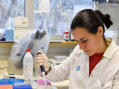 Una investigadora manipula una muestra en los laboratorios de IrsiCaixa.