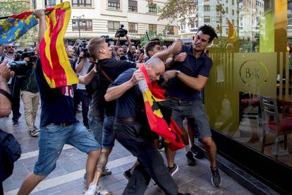 Uno de los altercados del 9 d'Octubre de 2017 en València.