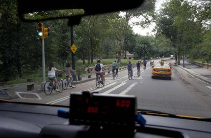 Ciclistas en Nueva York.
