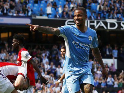 Gabriel Jesús celebra un gol en el último Manchester City-Arsenal. / (REUTERS)