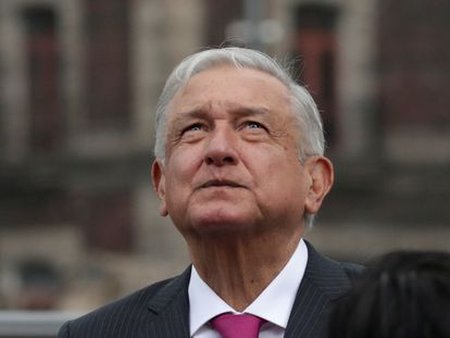El presidente mexicano, Andrés Manuel López Obrador, el 13 de mayo en el Zócalo de Ciudad de México.