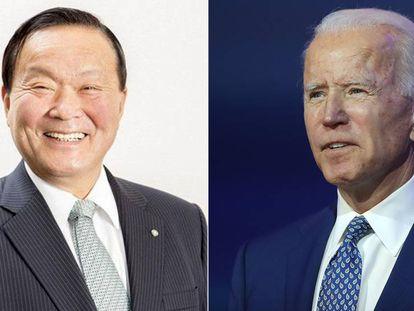Yutaka Umeda, alcalde de Yamato, y Joe Biden, el presidente electo de Estados Unidos.