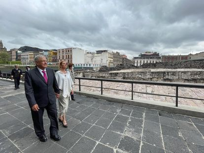 The Mexican president, Andrés Manuel López Obrador, in May, during an act of commemoration of 700 years of the founding of Tenochtitlan at the Museo del Templo Mayor.