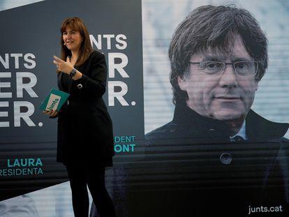 La candidata a la presidencia de la Generalitat por JxCat,Laura Borràs durante un acto de campaña.
