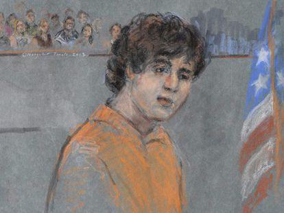 Dibujo de la comparecencia de Tsarnaev ante el tribunal.