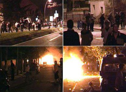 Varios momentos de los disturbios tras las fiestas de Pozuelo de Alarcón, en  la madrugada del domingo.