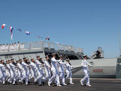 Acto de entrega en San Fernando (Cádiz), a finales del pasado mes de julio, de un buque construido por Navantia.
