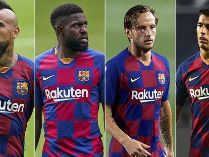 Desde la izquierda, Arturo Vidal, Umtiti, Rakitic y Luis Suárez, los primeros descartes de Koeman para la temporada que viene.