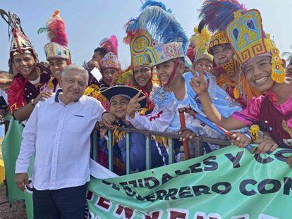 Andrés Manuel López Obrador en  Guerrero el 15 de marzo de 2020.