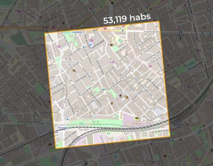 Zona de un kilómetro cuadrado de superficie en L'Hospitalet (Barcelona), la más densamente poblada de Europa según el análisis del profesor Alistair Rae.