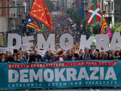 Manifestación en Bilbao en apoyo al proceso independentista catalán.