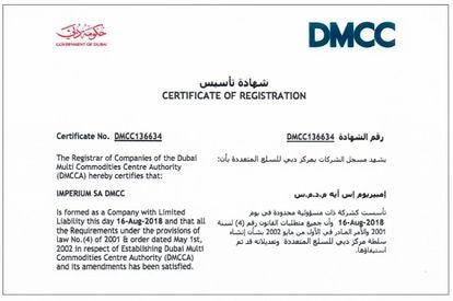 Acta constitutiva de Imperium en Dubái.