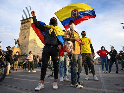 Una manifestación contra la Administración Duque en Bogotá, este 6 de mayo.