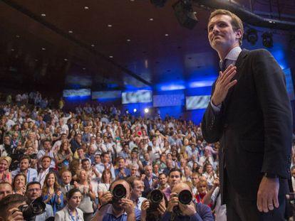 Pablo Casado al ser elegido líder del PP en el congreso del 22 de julio.