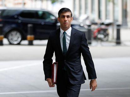 El ministro de Economía del Reino Unido, Rishi Sunak, este domingo en Londres
