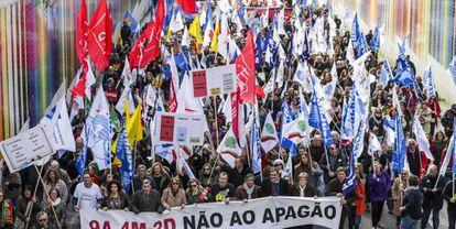Manifestación de profesores en Lisboa, en marzo.