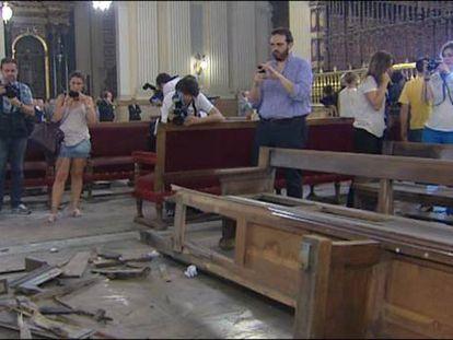 Una bomba casera causa destrozos en la basílica de El Pilar de Zaragoza