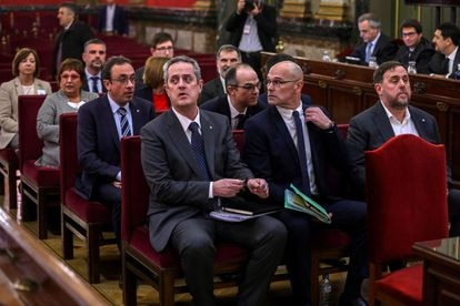 Catalan politicians Joaquim Forn, Raül Romeva and Oriol Junqueras, accused of sedition, in the Supreme Court during the trial (2019).