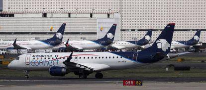 Aviones de Aeroméxico en el aeropuerto de Ciudad de México.