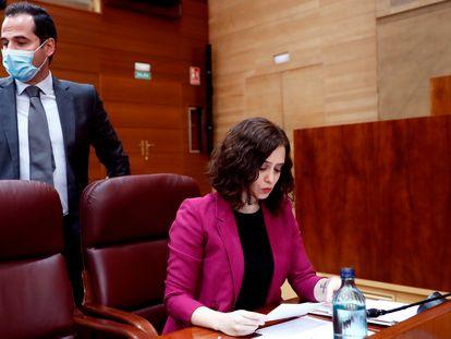 La presidenta de la Comunidad de Madrid, Isabel Díaz Ayuso y el vicepresidente, Ignacio Aguado.