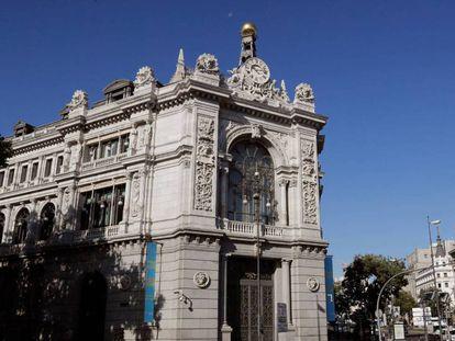 Fachada del Banco de España, en Madrid.