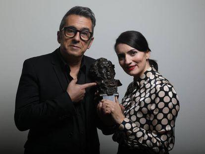 Andreu Buenafuente y Silvia Abril, en la Academia ayer.