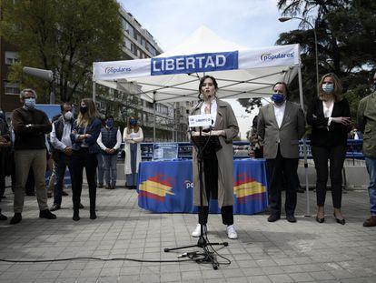 La candidata del PP a la presidencia de la Comunidad de Madrid, Isabel Díaz Ayuso, en un acto electoral.